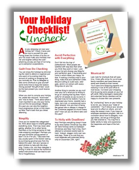 Managing Holiday Stress Tip Sheets for Employee Wellness