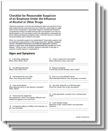 Checklist for Reasonable Suspicion in the Workplace